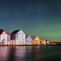 Aurora over the old fishing houses
